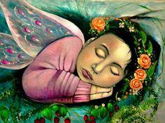 """arte naif """" Fairy dreams"""" ( olio su tela di recupero )  ispirato ai sogni dei bambini ...essere una fata è un sogno , entrare nel mondo magico delle favole forse si può.. con un pò di fantasia e creatività ( by Dany)"""
