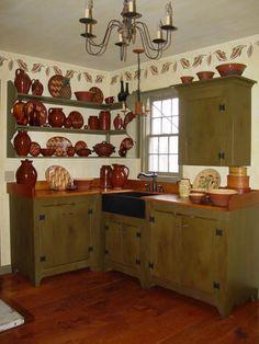 Pretty Primitive Kitchen Cabinet