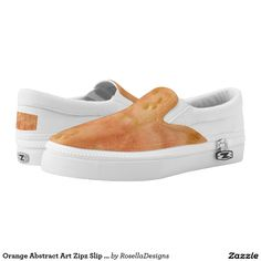 Orange Abstract Art Zipz Slip On Sneakers Shoes