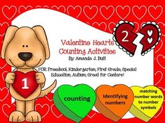 Valentine's Day Math Center Activities - Counting; Matching number to number; Matching number to number word; Matching number to group of hearts; Great for Math Centers; Kindergarten; First; Preschool; Autism; Special Education; Black and White and Color Copies for each activity!