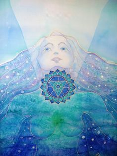 """""""Szonár - a teremtés hangja"""" / """"SONAR - voice of creation"""" silk painting  66 x 77 cm  Ildika ALDA Fazekas"""