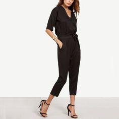 7d79e0221939 Black Surplice Front Self Tie Half Sleeve Jumpsuit