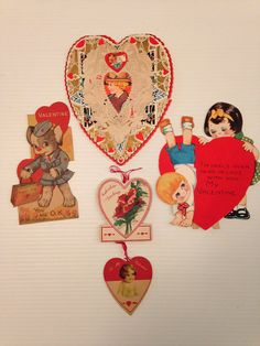 Valentine's Day Cards Vintage Lot of 15 Die-cut Mechanical Hearts Boy Girl (lot #5)