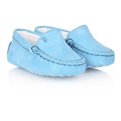 Tods Blue Suede Moccasin Pre Walkers