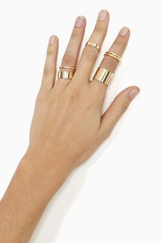 Stack it up with this amazing gold ring set! Looks great worn with the Nasty Gal Dance Through Life Dress!
