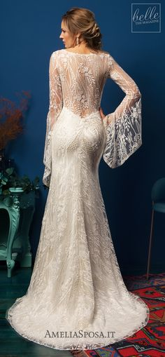 Amelia Sposa Wedding Dresses 2019 - Eliana | Lace mermaid wedding dress with v-neckline and long bohemian sleeves#weddingdress #weddingdresses#bridalgown #bridal#bridalgowns#weddinggown#bridetobe #weddings#bride #dreamdress #bridalcollection#bridaldress#dress See more gorgeous wedding dresses by clicking on the photo