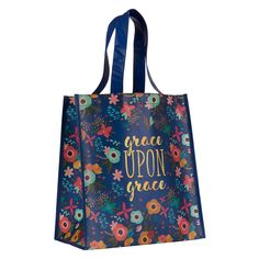See what's new in our Christian tote store. Floral Tote Bags, Navy Background, Bag Packaging, Colorful Backgrounds, Shopping Bag, Reusable Tote Bags, Christian, Beige, Pink
