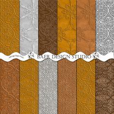 Digital paper collection that simulates leather, tin and fabric. Gold, bronze and silver digital paper collection, 300 dpi JPEG's, 12 X 12 inches and 8.5 X 11 inches. Instant download. Once downloaded these papers can be used over and over again for years to come. Follow the visit link for all the details.