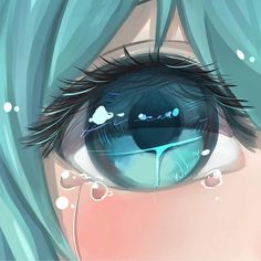 ✔ Cute Drawings Of Girls Hatsune Miku Manga Girl, Sad Anime Girl, Anime Art Girl, Anime Girls, Blue Drawings, Kawaii Drawings, Art Drawings, Drawing Art, Colour Drawing