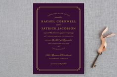 """""""Luxe Border"""" - Formal, Classical Wedding Invitations in Gold by Sarah Brown."""