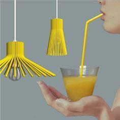 Diese modernen Lampenschirme sind aus Strohhalmen gebastelt!