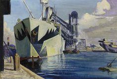 """The Canada Dock, oil painting, John Everett, National Maritime Museum, UK Nautical Marine, Nautical Art, Ww1 Art, Dazzle Camouflage, London Painting, Ship Paintings, Maritime Museum, World War One, Travel Posters"