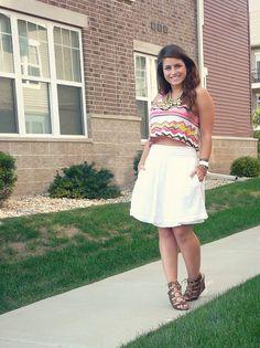 "crop top with vintage pleated skirt #curvy         ""if you follow my Curvy Girl's Spring/Summer Closet, make sure to follow my Curvy Girl's Fall/Winter Closet.""   http://pinterest.com/blessedmommyd/curvy-girls-fallwinter-closet/"