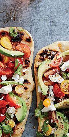 Avocado, Feta and Cherry Tomato Salsa Flatbread. Click for our recipe!