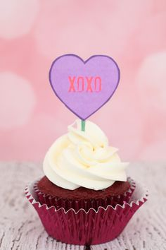Valentine's Day Conversation Heart Printable Cupcake Toppers