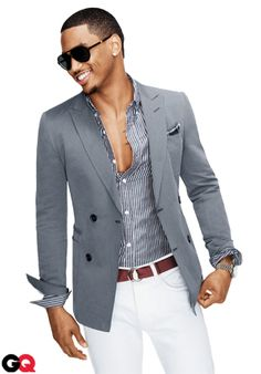 Casual/Chic Menswear --sports jacket, no tie, loose buttons on stripped shirt and summery white pants