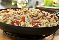 Pizza in a skillet? You bet…cream of mushroom soup, rotini pasta, pepperoni, 2 cheeses, onion, tomato and garlic combine for a creative twist to traditional pizza. It's unbelievably delicious and ready in just 45 minutes.