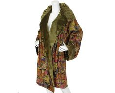 1920's Antique Floral Lamé and Silk Velvet Reversible Ruched Shawl Collar Opera Coat