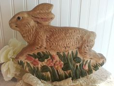 CHALKWARE BUNNY ROCKER Walnut Ridge Collectible by Sparklingwren, $68.00