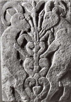 Hittite relief of tree of life and two rampant goats. Karatepe 1300 BC.