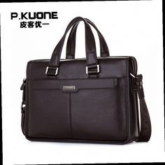 53.73$  Buy now - http://ali7fr.worldwells.pw/go.php?t=32746392409 - P.KUONE Genuine Leather Man Fashion Briefcase High Quality Business Shoulder Bag Casual Travel Handbag Luxury Brand Laptop Bag