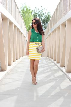 cute summer work outfit: green blouse, patterned yellow pencil skirt