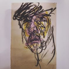 Stuck in an old box - a self portrait from around 1987 I think. #selfportrait #paintstick #drawing