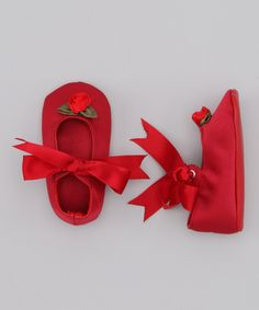 Red Noel Satin Shoe on #zulily