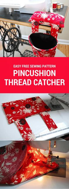DIY Pincushion Thread Catcher free sewing pattern and tutorial. This is an easy beginner sewing project! Make one today for your sewing machine.