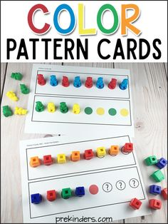 Print these pattern block cards to use with any colored math counters. You can use Unifix cubes, bear counters, dinosaur counters, farm animal…