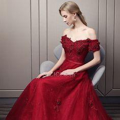 1a808b5af2092d Empire Festliche Kleider Ballkleider Abendkleider Brautjungfernkleid  Spitzen Burgunderrot Rückenausschnitt Elegante Lange  ballkleider