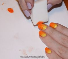 gradient nails? use a sponge to layer!! top it off with designs on top!