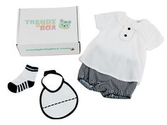 A great spring outfit with little cotton shorts and a cute cotton collars shirt. with a matching bib to catch spills and sweet little socks. Just one of the Trendy Baby Boxes we've sent out to our subscribers!