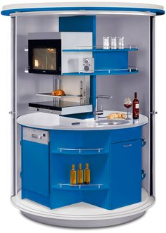Blue And White Circle Kitchen From Compact Concepts