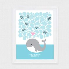 whale signature baby shower guestbook  printable file  by iDIYjr