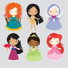 Princess Set 2 Clipart Instant Download PNG Files. by araqua