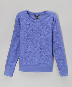 This Periwinkle Lace Crewneck Tee - Girls is perfect! #zulilyfinds