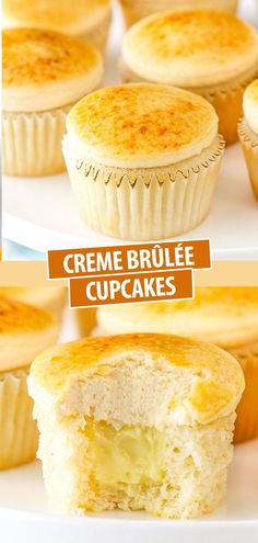These Creme Brûlée Cupcakes are made with a moist vanilla cupcake and pastry cream filling, then topped with caramel frosting and a caramelized sugar top! They're fun and absolutely delicious!