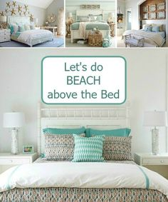 Above the bed wall decor ideas... http://www.completely-coastal.com/2016/09/above-the-bed-wall-decor-ideas.html