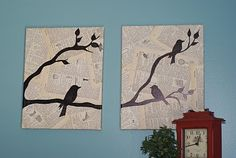 Make your own bird wall art with printed bird templates and a textual collage for the background. This wall art craft project shows you how to create wall decor with the look of pricier designer pieces.