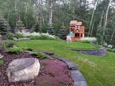 Cottage Landscaping. Playhouse is incorporated right into the landscape. Lakeside Cottages and Country Homes | Creative Landscape & Design