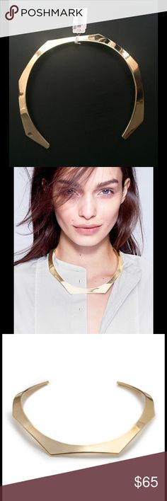 "J. Crew Shaped Choker Size & Fit:  * 5 1/2""L x 6""W. * Width: 3/8"". * 3"" opening.  Product Details:  My favorite thing about this sculpted choker?  The way it turns a T-shirt and sweatpants into an outfit like that.  * Brass casting. * 14k gold plating. * Import. J. Crew Jewelry Necklaces"