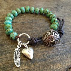 Indian Summer Turquoise Knotted Leather Wrap by TwoSilverSisters, $39.00