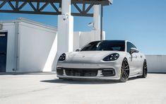 Hämta bilder Porsche Panamera, Turbo, 2018, framifrån, sport-fyra-dörrars sedan, nya bilar, nya Panamera vit, Porsche