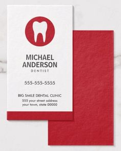 Dentist or dental clinic/assistant modern minimal business card Modern and elegant, vertical dentist or dental assistant business card featuring a white tooth logo on a red circle. Customizable name, title / business name and contact information on the front. Red back. Great business card for anyone working with teeth or dental care. Dental business cards, dentist buiness cards