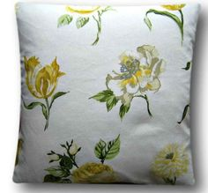 """Cushion Cover Handmade Juliette Mimosa 16"""" Scatter Pillow Yellow Floral Scatter"""