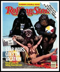 Princess Leia Organa and her father on the cover of Rolling Stone Magazine with a teddy bear and pig