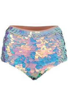 Petal-pink pearlescent sequin hotpant-style shorts. The sequins show flashes of lilac, turquoise, and shades of pink to create a dreamy effect. Every sequin i