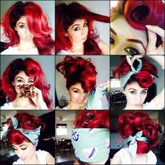 Rockabilly Rockability Roll Pin-Up Red Halloween Red-Hair Tutorial Although you may want to change y Lazy Hairstyles, Bandana Hairstyles, Retro Hairstyles, Halloween Hairstyles, Wedding Hairstyles, Vintage Hairstyles Tutorial, Pinup, Cabelo Pin Up, Estilo Pin Up