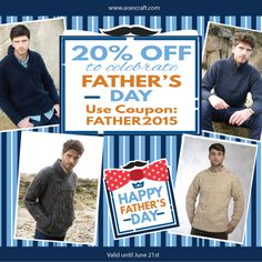 Aran Crafts is home to an authentic collection of Aran sweaters for men, women and children. Using traditional patterns, find your very own Irish sweater here. Happy Fathers Day, Fathers Day Gifts, Knitwear, Irish, Men Sweater, Gift Ideas, Celebrities, Children, Crafts